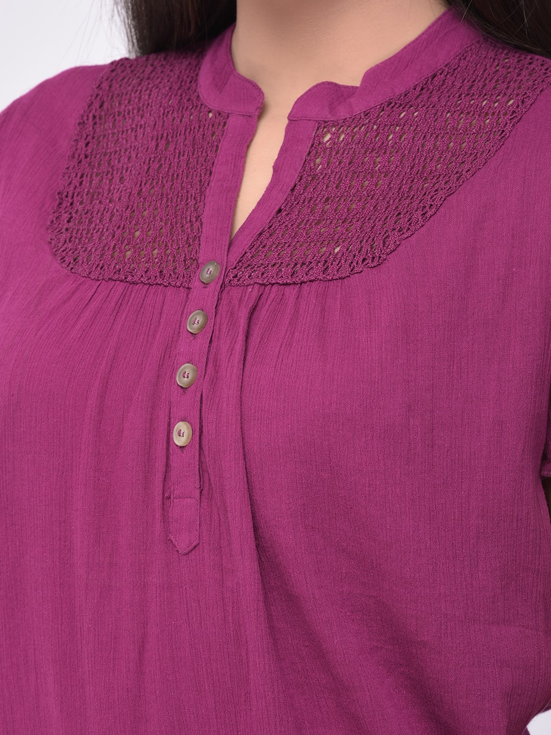 Women Maroon Lace Top with Bell Sleeves