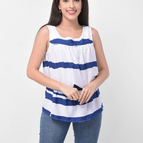 Women White & Blue Striped Styled Top