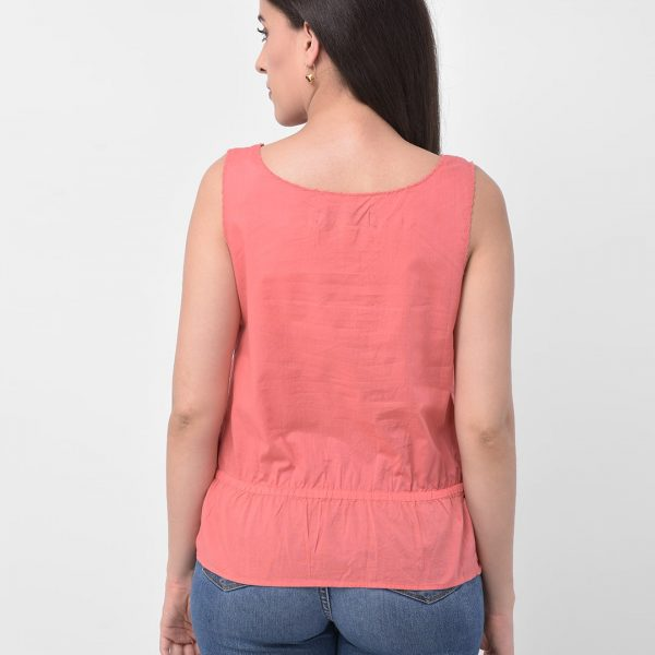 Women Pink V-neck Western top