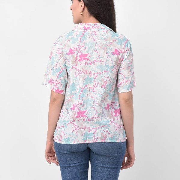 Frill Detail Floral Printed Shirt