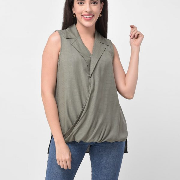 Women Green Regular Fit Solid Casual Cuban Collar Shirt