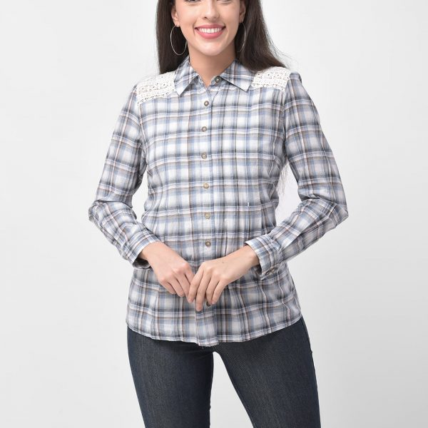Crochet Panel Checkered Shirt with Lace Shoulder Patch