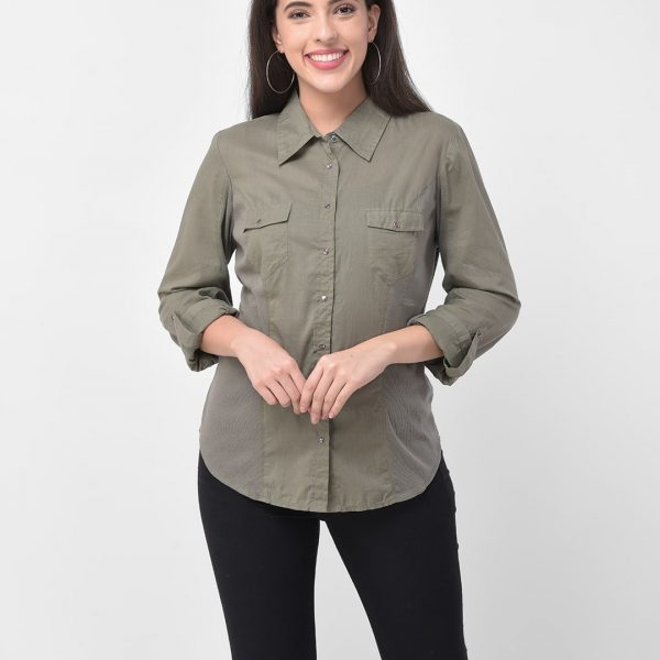 Women Green Self Design Regular Fit Casual Shirt