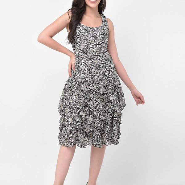 women grey knee length printed dress