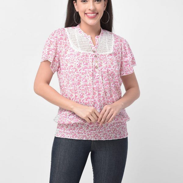 Women Pink Lace Top