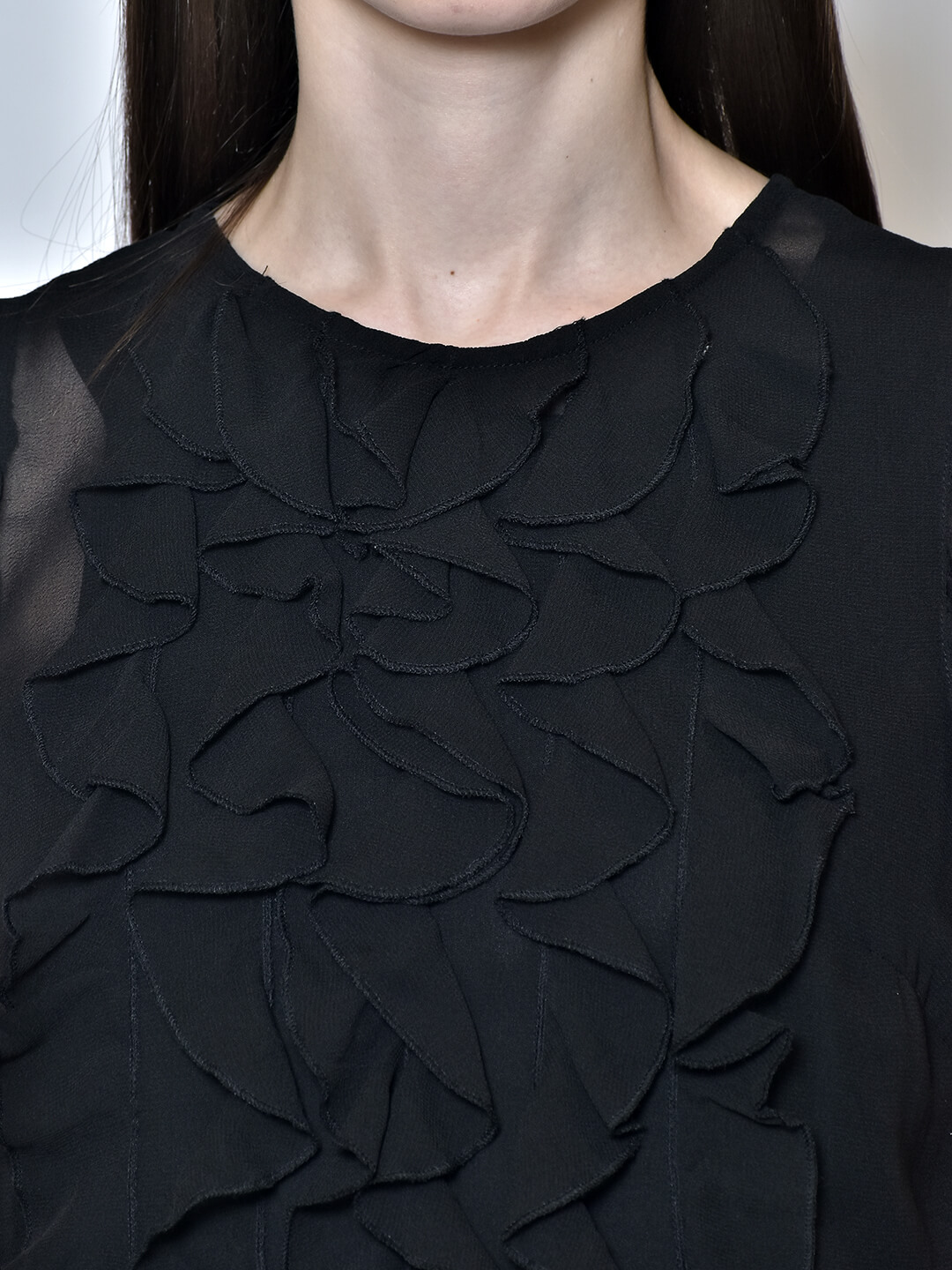 Black top for women round neck frill detail top