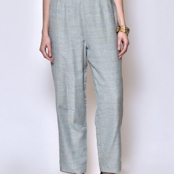 Women Blue Solid Linen Trouser