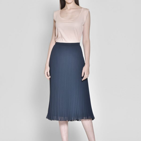 Women Navy Solid Accordion Pleated Finish Maxi Flared Skirt